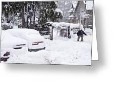 Man Clearing Snow, Braemar, Scotland Greeting Card by Duncan Shaw