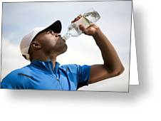 Man Drinking Bottled Water Greeting Card