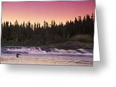 Man Fly-fishing In River Greeting Card