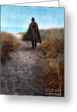 Man In Cape And Top Hat By The Sea Greeting Card