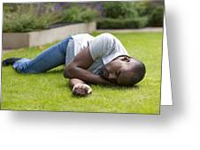 Man In Recovery Position Greeting Card