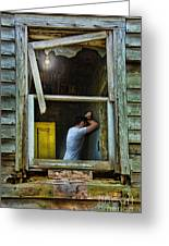Man In Ruined House Greeting Card
