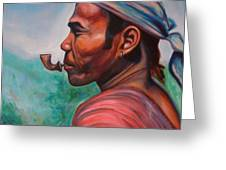Man In The Hills Of Chiang Rai Greeting Card