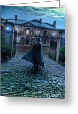 Man In Top Hat And Cape On Cobblestone Street Greeting Card