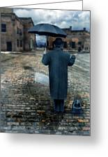 Man In Vintage Clothing With Umbrella On Rainy Brick Street Greeting Card