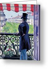 Man On A Balcony On Boulevard Haussmann Greeting Card