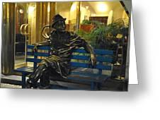 Man On A Bench In Prague Greeting Card