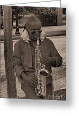 Man Playing His Saxophone Greeting Card