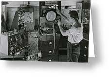 Man Testing Early Television Equipment Greeting Card