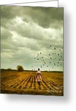 Man Walking In A Farm Field Greeting Card