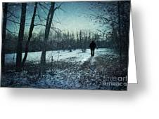 Man Walking In Snow At Winter Twilight Greeting Card by Sandra Cunningham