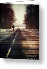 Man Walking On A Rural Winter Road Greeting Card
