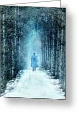 Man Walking Through Snowy Woods Greeting Card