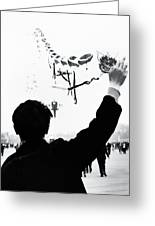Man With A Kite Greeting Card by Linde Townsend