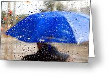 Man With Blue Umbrella Greeting Card