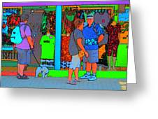 Man With Dog Greeting Card