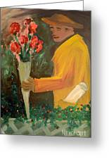 Man With Flowers  Greeting Card