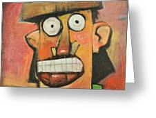 Man With Terracotta Hat And Green Shirt Greeting Card