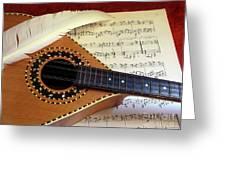 Mandolin And Partiture Greeting Card