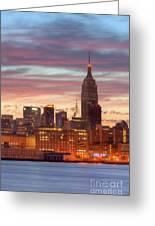Manhattan Buildings And Pre-sunrise Sky Greeting Card