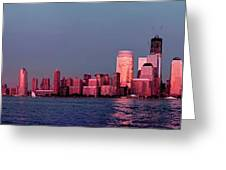 Manhattan In Pink Greeting Card
