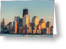 Manhattan Sunset Reflections Greeting Card