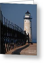 Manistee Harbor Lighthouse And Cat Walk Greeting Card