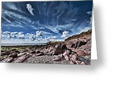 Manorbier Rocks Big Sky Greeting Card