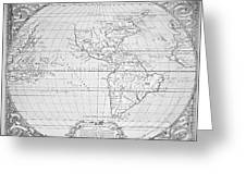 Map Of The New World 1587 Greeting Card