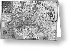 Map Of Virginia, 1624 Greeting Card