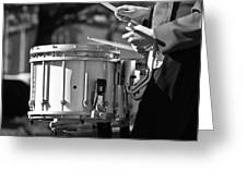 Marching Band Drummer Boy Bw Greeting Card