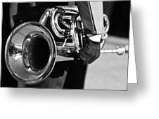Marching Band Horn Bw Greeting Card