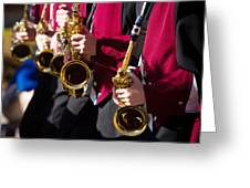 Marching Band Saxophones Cropped Greeting Card