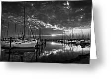 Marina At Fort Monroe Bw Greeting Card
