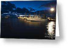 Marina With Fishing Boats Greeting Card