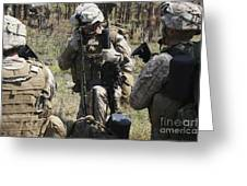 Marines Communicate With Other Elements Greeting Card