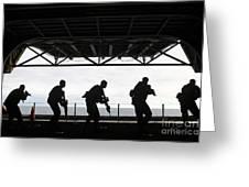 Marines Conduct Rifle Movement Drills Greeting Card