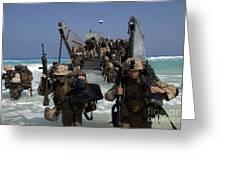 Marines Disembark A Landing Craft Greeting Card