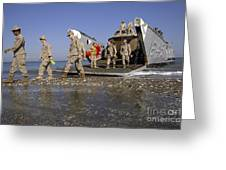 Marines Disembark From A Landing Craft Greeting Card