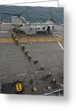 Marines Embark A Ch-46e Sea Stallion Greeting Card