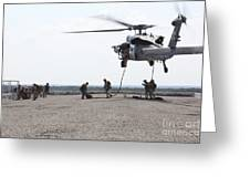 Marines Fast-rope Onto Their Objective Greeting Card