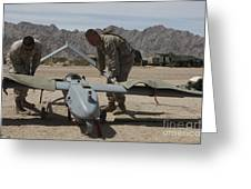 Marines Move An Rq-7 Shadow Unmanned Greeting Card
