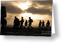 Marines Move To A Firing Line Greeting Card