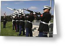Marines Practices Drill Movements Greeting Card