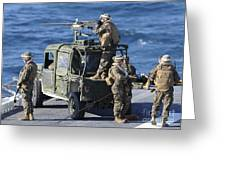 Marines Provide Security Aboard Greeting Card