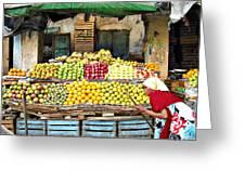 Market Of Djibuti-1 Greeting Card by Jenny Senra Pampin