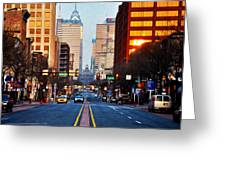 Market Street In The Morning Greeting Card