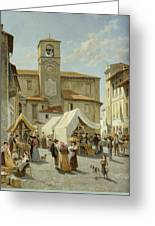 Marketday In Desanzano  Greeting Card