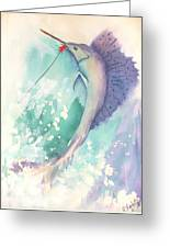Marlin On The Hook Greeting Card