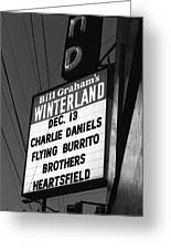 Marquee At Winterland In Late 1975 Greeting Card